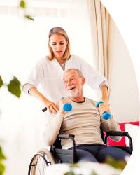 caregiver assisting patient in lifting weights