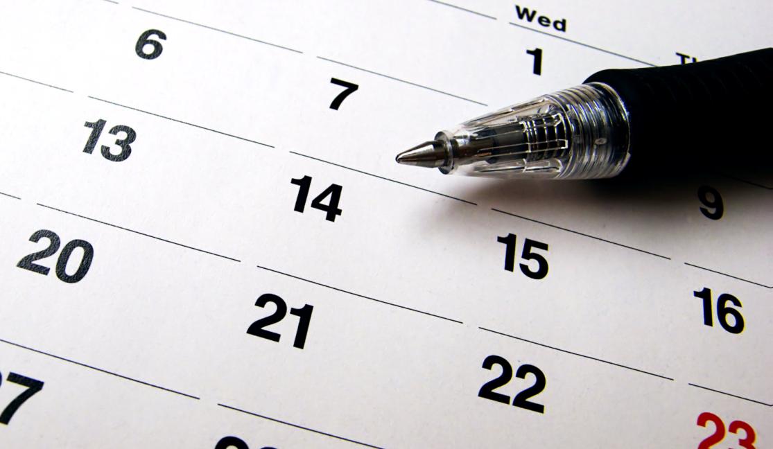 calendar under the pen