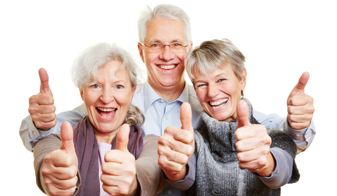 three elderly doing OK sign